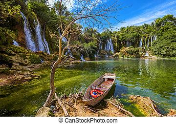 Kravice waterfall in Bosnia and Herzegovina - nature travel background