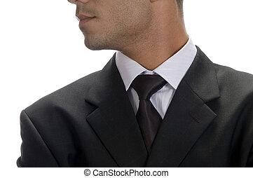 krawat, biznesmen, poza, do góry szczelnie