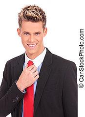 krawat, regulując, jego, handlowiec