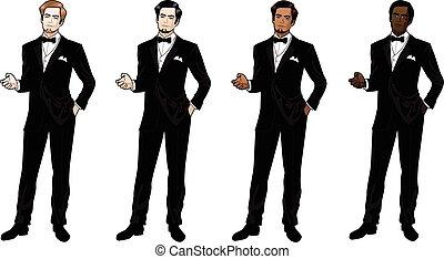 krawat, smoking, człowiek, czarnoskóry, łuk