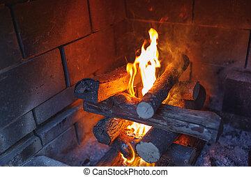 krb, oheň, hořící, poleno
