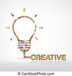 kreatív, égő, gondolat, fogalom