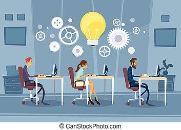 kreatív, csoport, businesspeople, dolgozó, befog