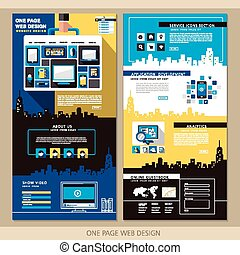 kreatív, egy, oldal, website, tervezés, sablon
