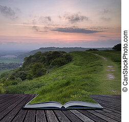 kreatív, fogalom, apródok, közül, könyv, gyönyörű, vibráló, napkelte, felett, gördülő, vidéki táj, táj