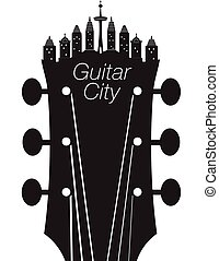 kreatív, gitár, város, zene, háttér