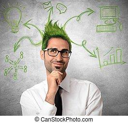 kreatív, gondolat, közül, egy, üzletember