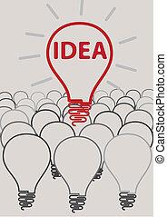 kreatív, gumó, fény, gondolat, fogalom, ellen-