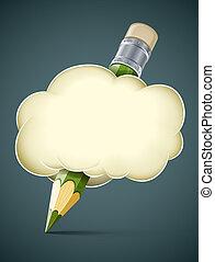 kreatív, művészi, fogalom, ceruza, alatt, felhő