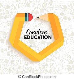 kreatív, oktatás, fogalom, tervezés