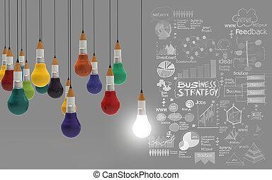 kreatív, tervezés, ügy, mint, ceruza, lightbulb, 3, mint, ügy, tervezés, fogalom