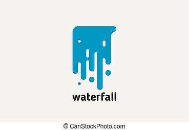 kreatív, víz, vízesés, jel, egyenes, logo., design.