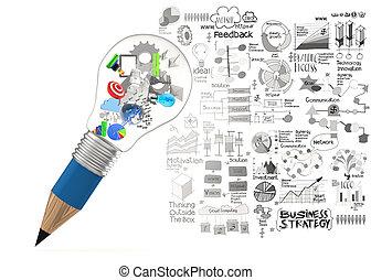 kreativ, design, geschaeftswelt, als, bleistift, lightbulb, 3d, als, geschäftsstrategie, begriff
