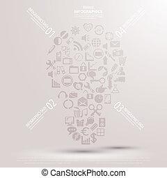 kreativ, glühlampe, mit, zeichnung, geschäftsstrategie, plan, begriff, idee, vektor, abbildung, modern, schablone, design