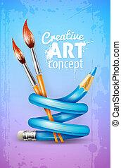 kreativ, kunst, begriff, mit, verdreht, bleistift, und, bürsten, für, zeichnung