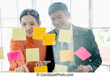 kreativ, leute, versammlung, büro., geschaeftswelt, junger