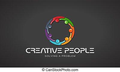 kreativ, leute, zusammen, brainstorming., vektor, design