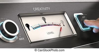 kreativ, modus, engagiert, -, werbung, firma, begriff