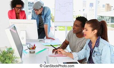 kreativ, partner, arbeitend zusammen