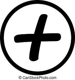 kreativ, poppig, plus, icon., linie, style., web, tasten, oder, app, tasten, begriff, vector.