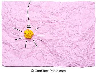 kreative, ide, hos, brændende, lys pære, på, en, lyserød, crumpled, baggrund., undervisning, begreb