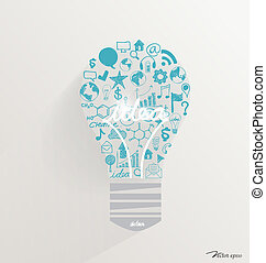 kreative, ide, ind, lys pære, idet, indskydelsen, begreb,...