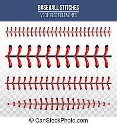 kreative, vektor, illustration, i, sport, baseball bold, sting, rød, snørebånd, søm, isoleret, på, transparent, baggrund., kunst, konstruktion, tråd, decoration., abstrakt begreb, grafik, element