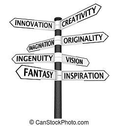 kreativitás, útkereszteződés cégtábla