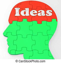 kreativitás, elme, gondolat, javítás, vagy, thoughts, látszik