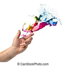 kreativitás, fogalom, kéz, dobás, festék