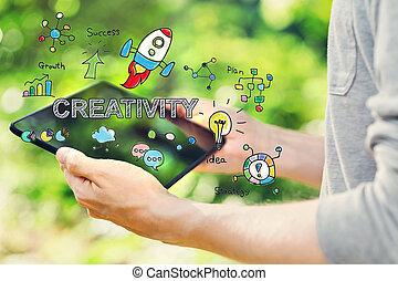 kreativitás, fogalom, noha, fiatalember, birtok, övé, tabletta, számítógép