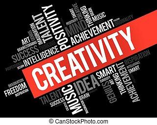 kreativitás, szó, felhő