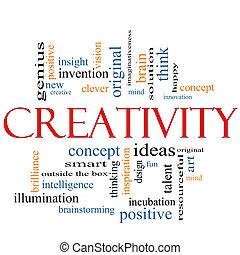 kreativitás, szó, felhő, fogalom