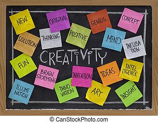 kreativitás, szó, felhő, képben látható, tábla