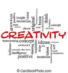 kreativitet, ord, moln, begrepp, röda svarta