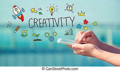 kreativitet, smartphone, begrepp