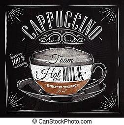 kreda, afisz, cappuccino
