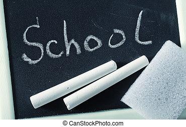 kreda, chalkboard, tablica, czysty