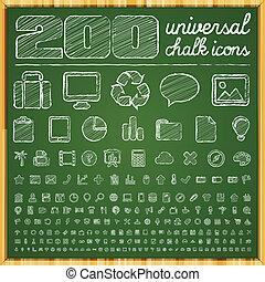 kreda, doodle, uniwersalny, ikony
