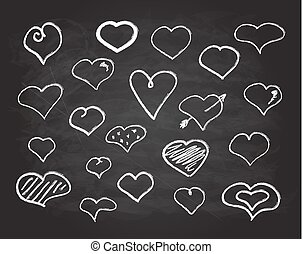 kreda, serce, komplet, bazgrać, ikony