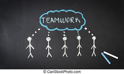 kreda, teamwork, ilustracja