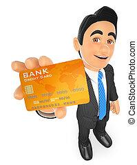 krediet, 3d, kaart, zakenman