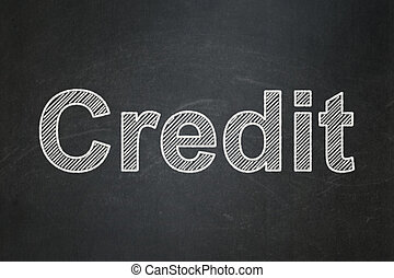 krediet, concept:, achtergrond, chalkboard, zakelijk
