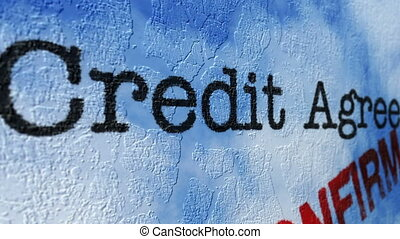 krediet, concept, grunge, overeenkomst