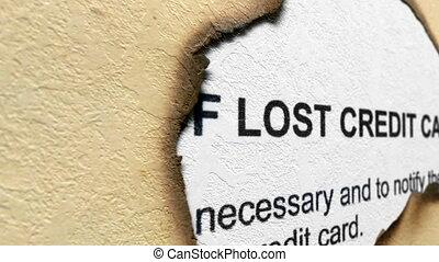 krediet, concept, verloren, kaart