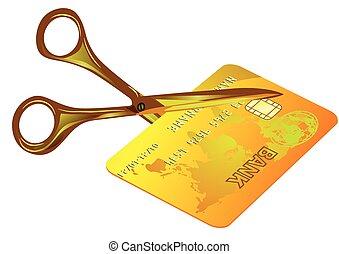 krediet, knippen, kaart, uit