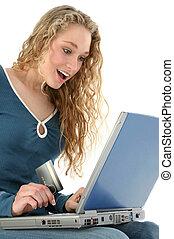 krediet, meisje, draagbare computer, kaart