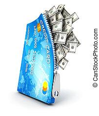 krediet, open, kaart, 3d