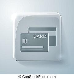 krediet, plein, card., glas, pictogram