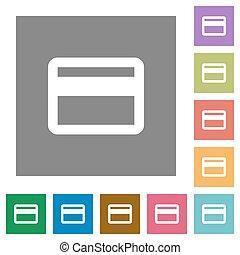 krediet, plein, plat, kaart, iconen